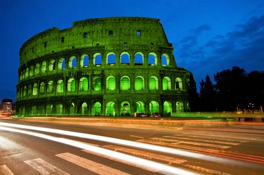 The Colosseum Rome, one of the world's many landmarks set to go green for St Patrick's Day.