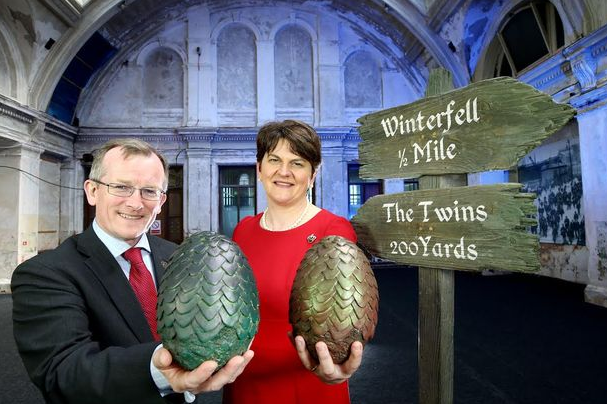 CEO of Tourism Ireland, Niall Gibbons and Enterprise, Trade and Investment Minister Arlene Foster at the launch of Tourism Ireland's new 2015 Game of Thrones campaign.